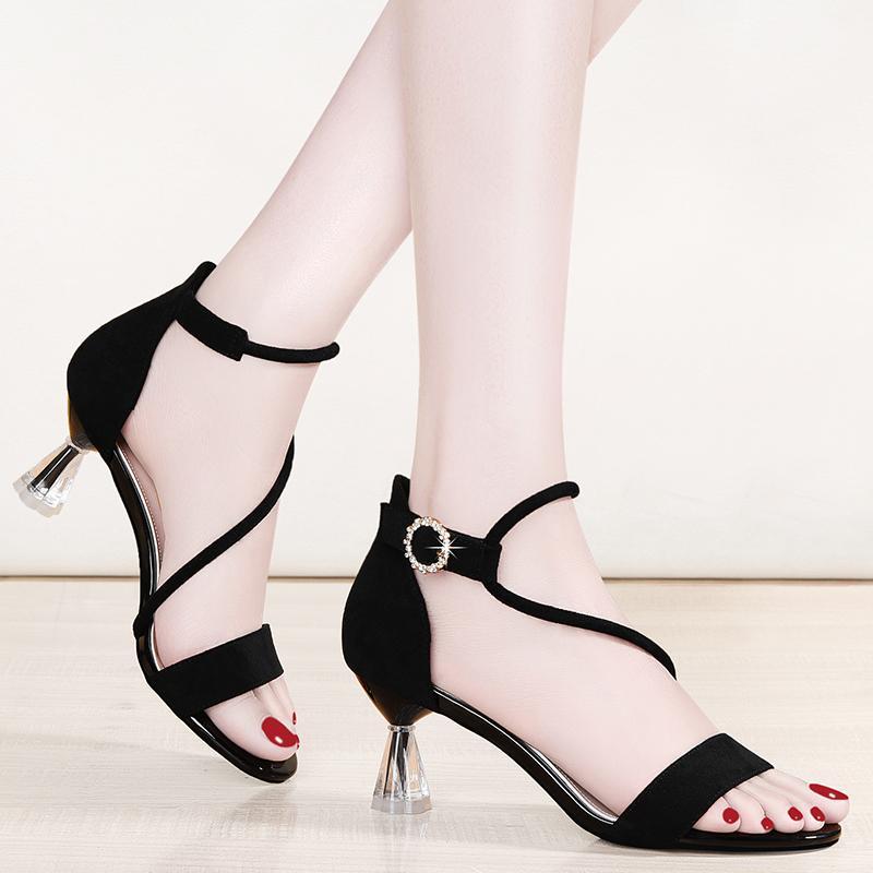 Sexy Crystal Sace Летняя платформа Sandals Black Fashion Women Onow Toe Gladiator Платье Партии для вечеринок в 35-40