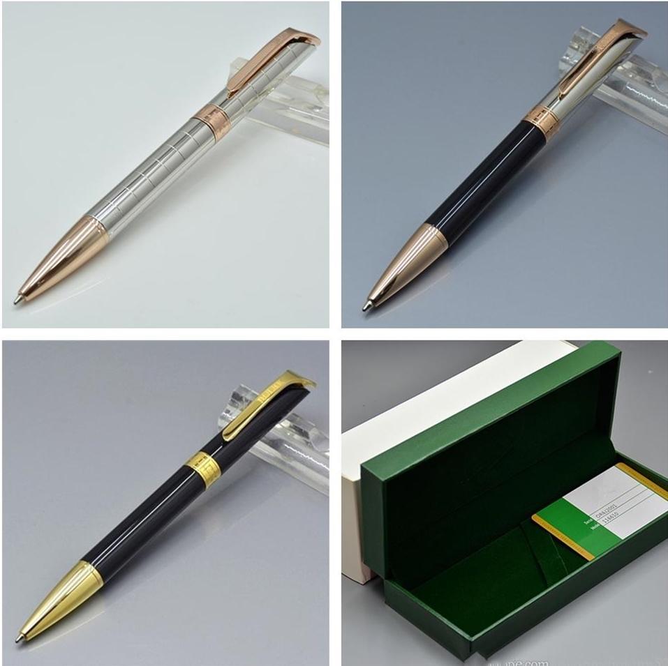 Stylo à bille de haute qualité Silver / Noir Papeterie d'administration Papeterie d'administration Luxurs Écrire des stylos de recharge avec boîte