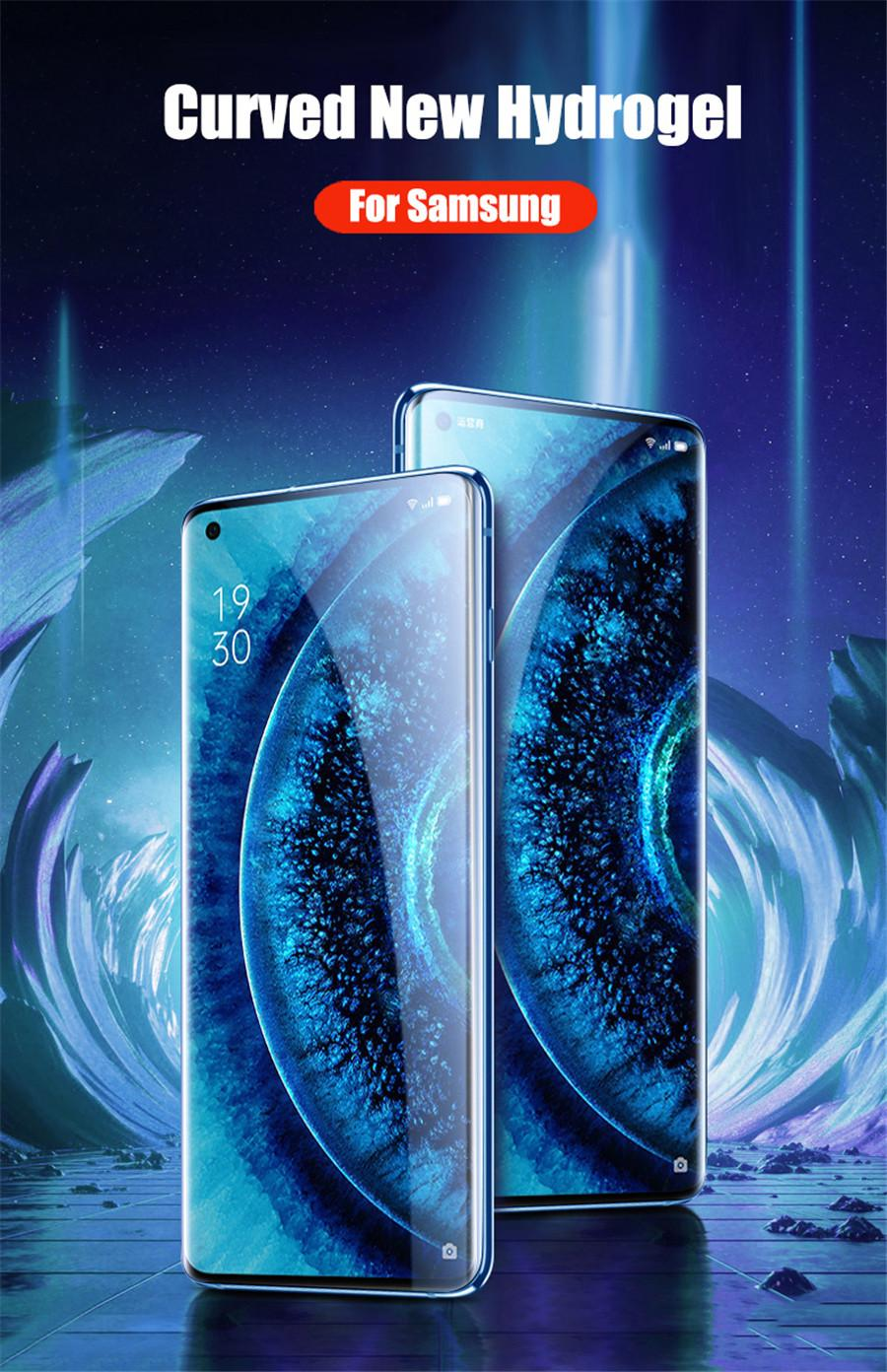 삼성 갤럭시 S10 S9 S8 Plus S10E 필름을위한 새로운 전체 곡선 하이드로 젤 필름 삼성 노트 10 PRO 9 8 필름 유리 스크린 프로텍터