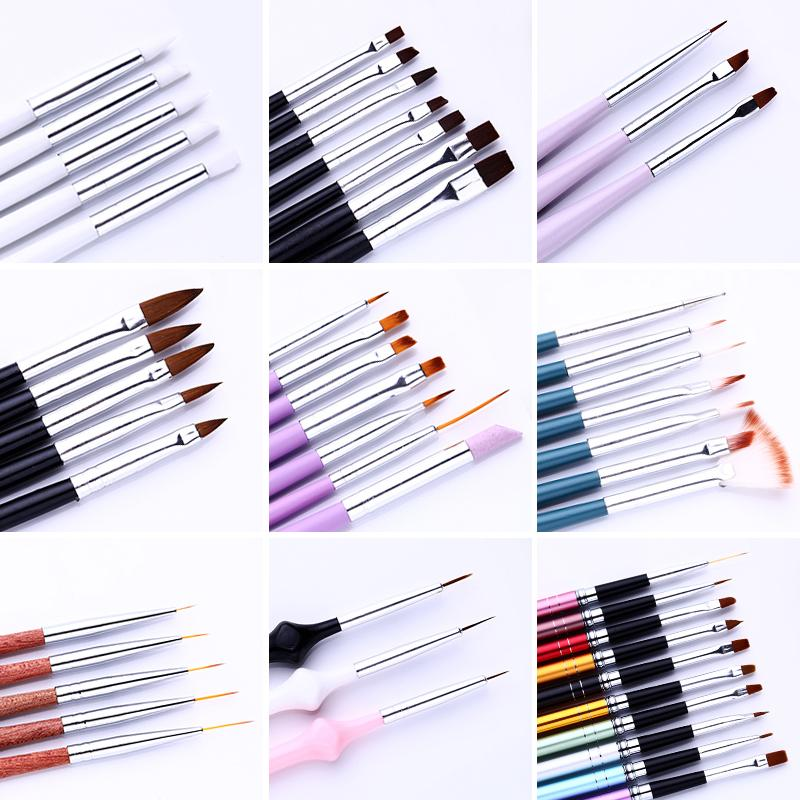 7/15 adet UV Jel Akrilik Tırnak Fırça Seti Liner Çizim Boyama için Tırnak Fırçası Çayı Noktası Tasarımlar Nail Art Aracı