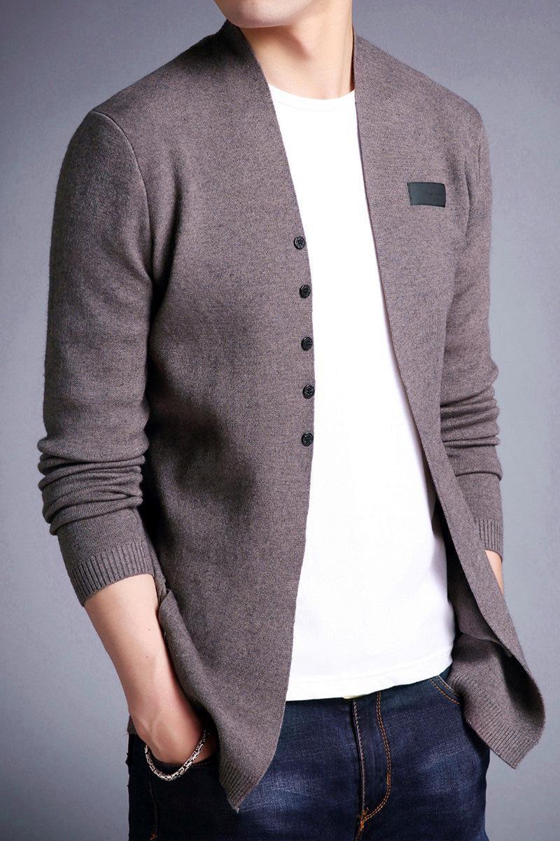 Мужчины мода тонкий корейский мужчина с длинным рукавом вязать кардиган V-образным вырезом свитер куртка м-3xlvouq