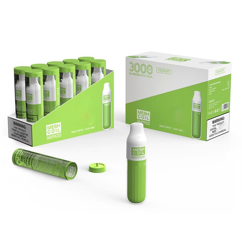 VAPMOD VMOD MESH COIL Одноразовые E Cigarettes Kit 3000Установок Vape Pen 1200MAH Аккумуляторная батарея 8.0ml Предварительно заполненные картриджи. Испытатели на 100% аутентичные VS Flum Puet