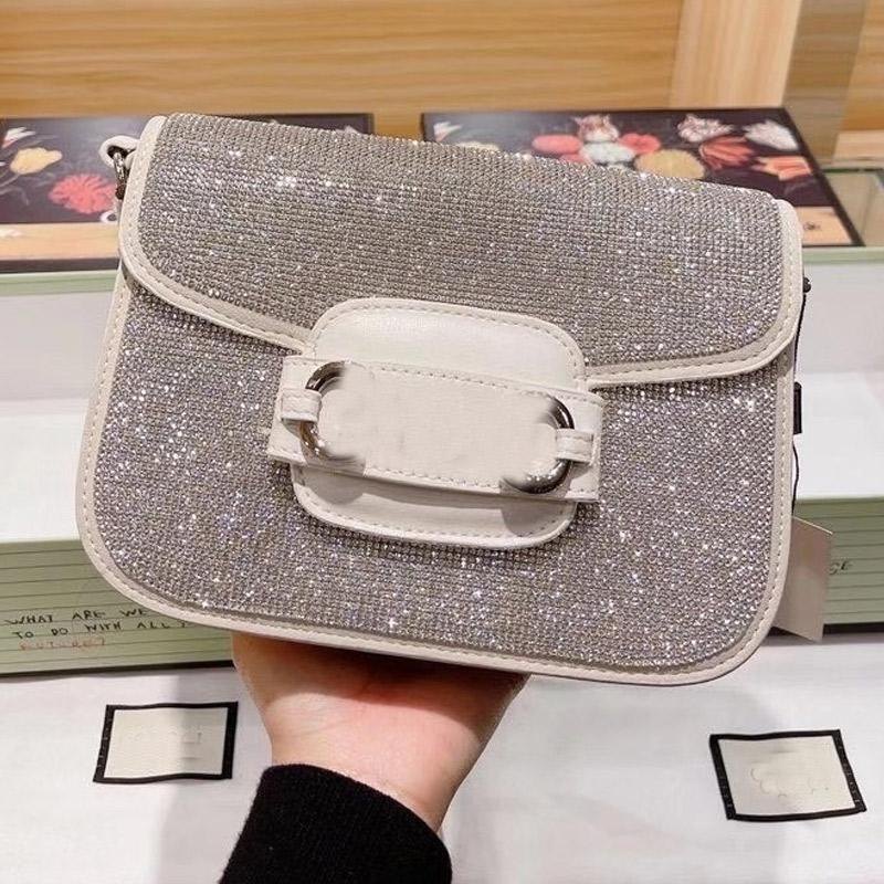 Bright Diamond Handbag Purse Bling Beads Messenger Bags Fashion letter Crossbody Shoulder Bag Silver Buckle Hasp Flap Bag Dinner Bags Wallet