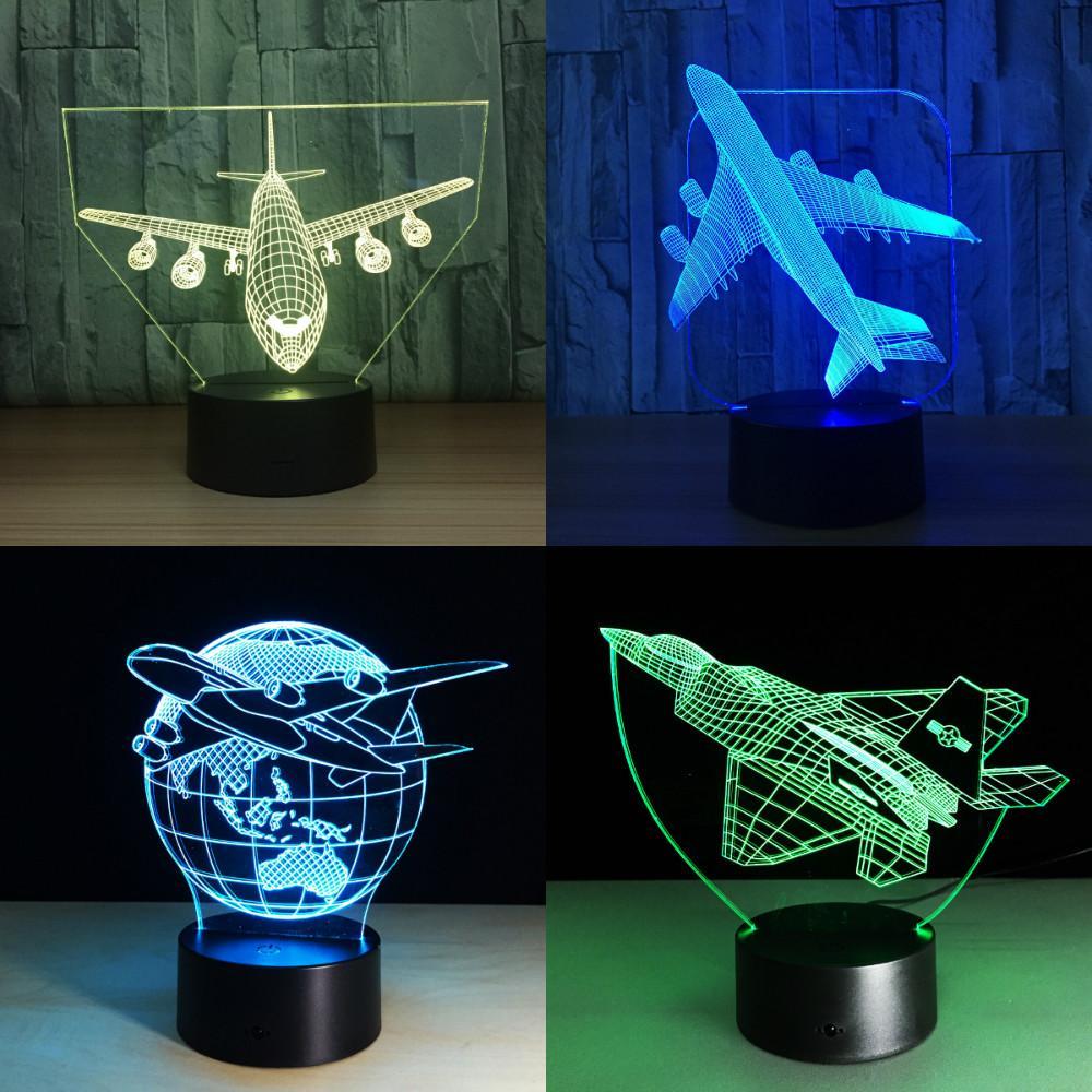 Berühren Sie Fernbedienung Luftebene 3D Licht LED Tischlampe optische Täuschung Birne Nachtlicht 7 Farben ändern Stimmungslampe USB-Lampe C0305