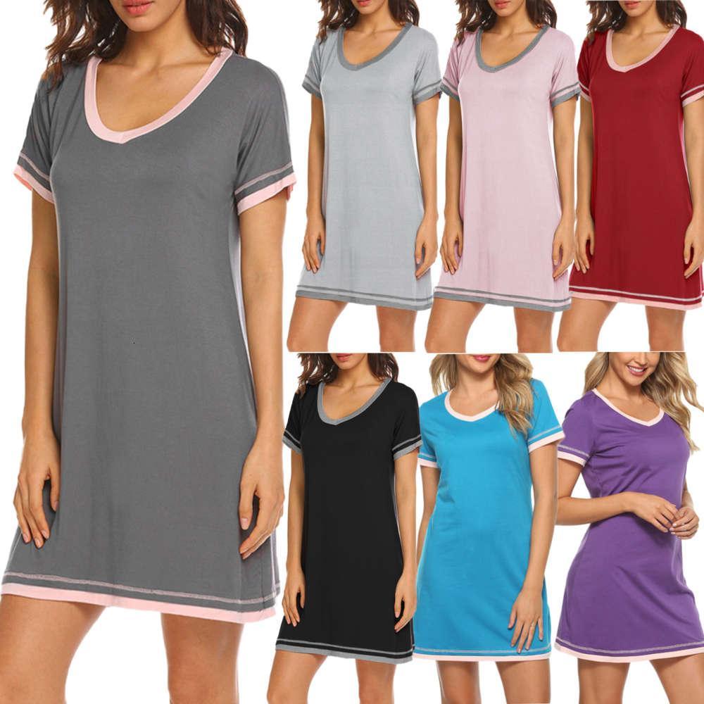 Mujeres 2021 de la primavera y el verano del cuello redondo del cuello redondo costura suelta vestido de manga corta ropa de casa