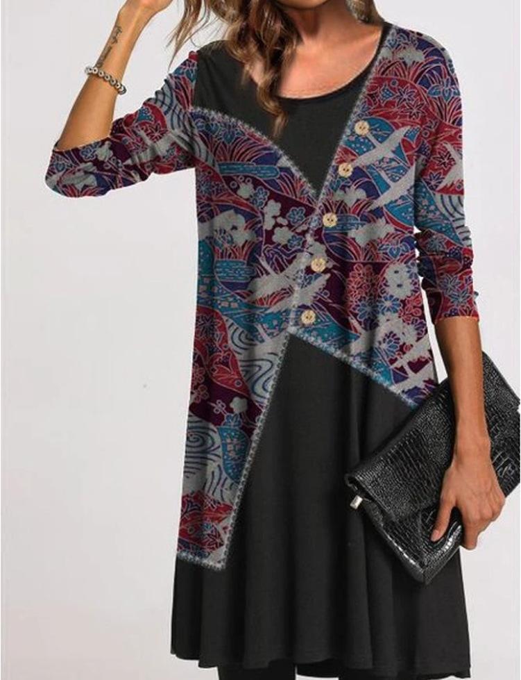 Повседневные платья старинные пэчворки печатные футболки платье Sukienka Женщины плюс размер с длинным рукавом O-образным вырезом мини-сдвиг 2021 Vestido Navidad