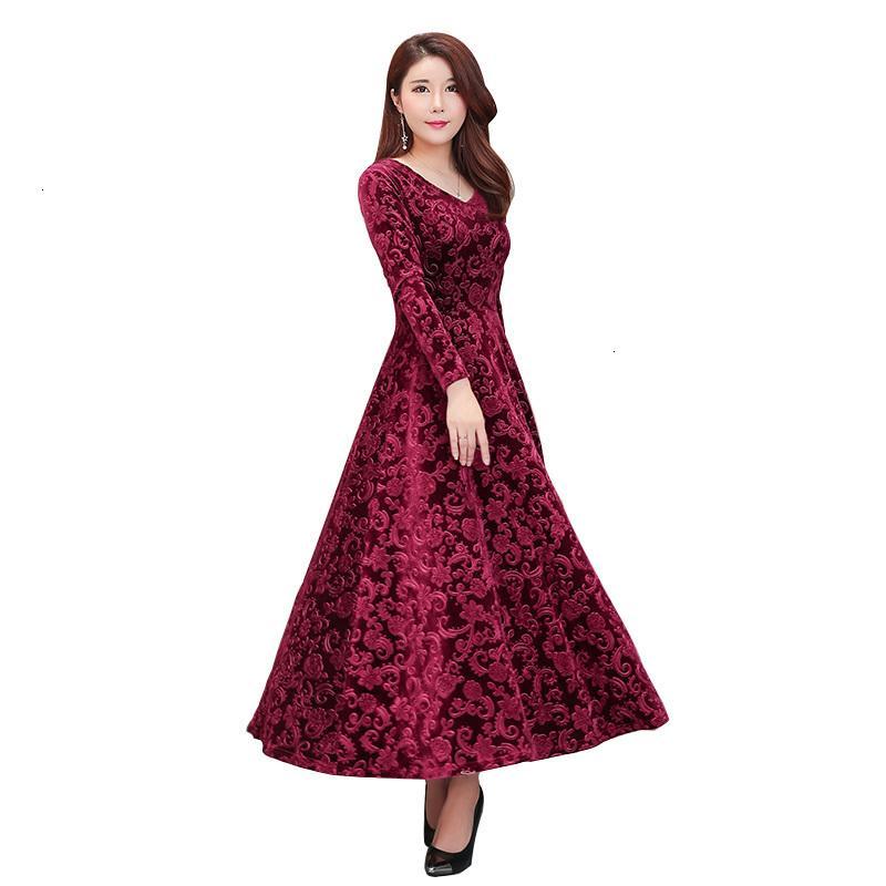 2021 Новое Высокое Качество Ветка Жаккардовая Ткань Осень Зимние Женщины Робин Femme С Длинным Рукавом Вечеринка Повседневная Элегантная Maxi 3Eh5