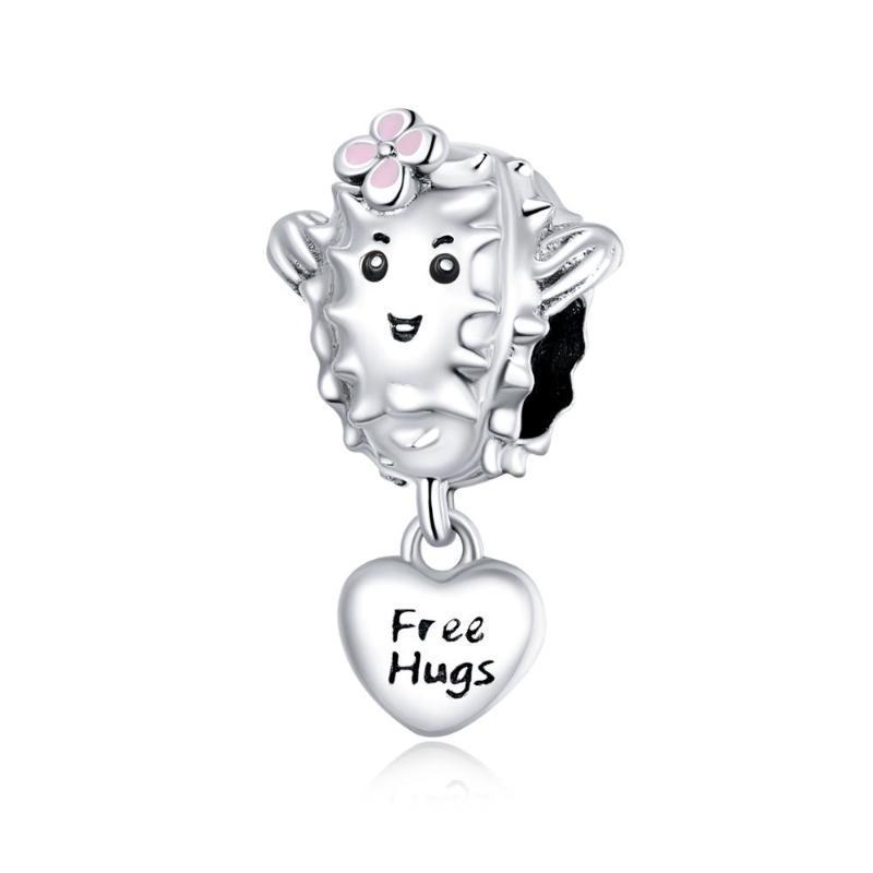 Original lindo suculento 925 con cuentas de plata sólida, abrazos gratis S925 encanto de plata esterlina Planta en forma de corazón Accesorios de pulsera de bricolaje
