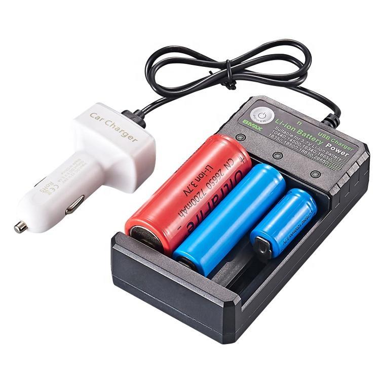 أحدث إطلاق Ampere Power M03U 3 فتحات بسيطة المحمولة 18650 20700 21700 شاحن بطارية ليثيوم مع كابل USB