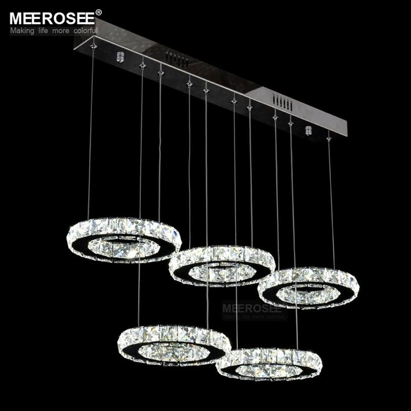 Современная хрома хрустальной люстры светодиодный алмазное кольцо подвесной светильник круг из нержавеющей стали висит свет для гостиной крытое освещение