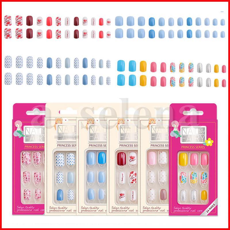 Nails falsos reutilizables con consejos de arte de diseño Tapa completa Prensa en cómodo para usar herramienta de cuidado de uñas 24pcs / set
