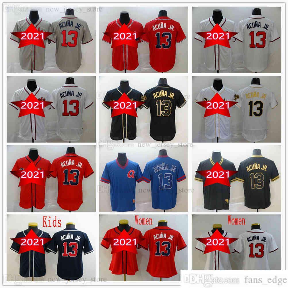 남자 여자 청소년 아이들 2022 야구 13 Ronald Acuna Jr. 유니폼 회색 검은 황금 화이트 레드 진한 푸른 저지