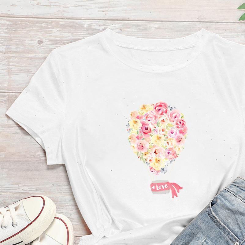 Women T Shirt Harajuku Breathable PWhite Flower Group Graphic Style Cartoon Streetwear Korean Trend Cheap