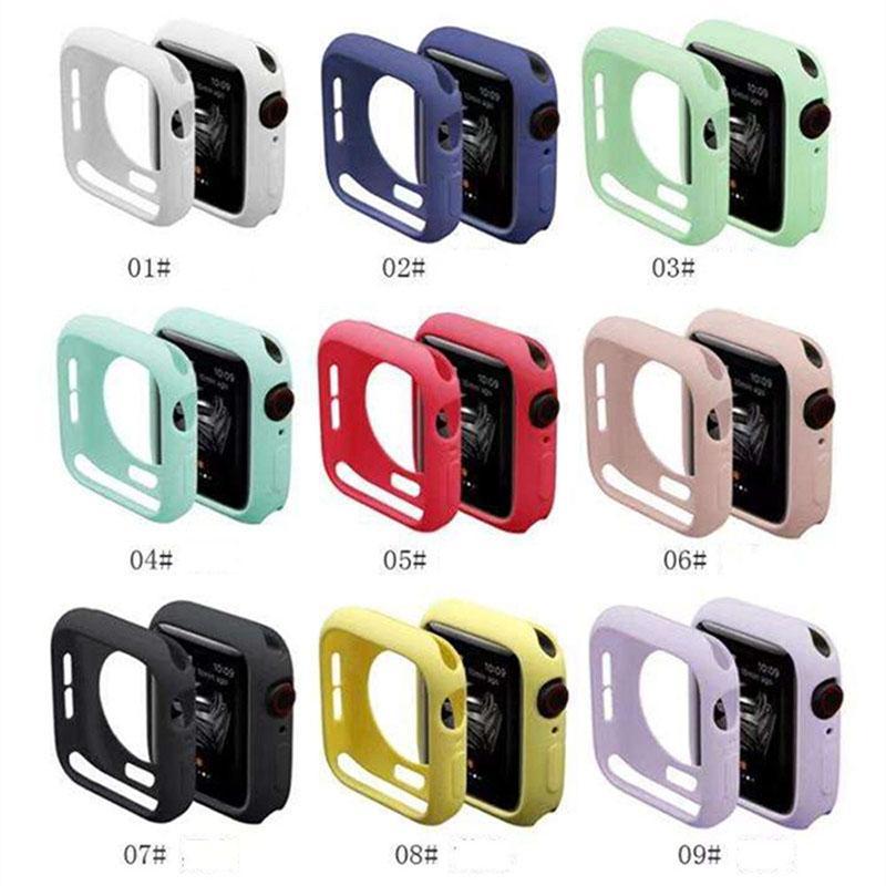 الملونة حالة سيليكون لينة ل أبل ووتش iwatch سلسلة 4 5 6 SE غطاء حالات حماية كاملة 42 ملليمتر 38 ملليمتر 40 ملليمتر 44 ملليمتر الفرقة الملحقات