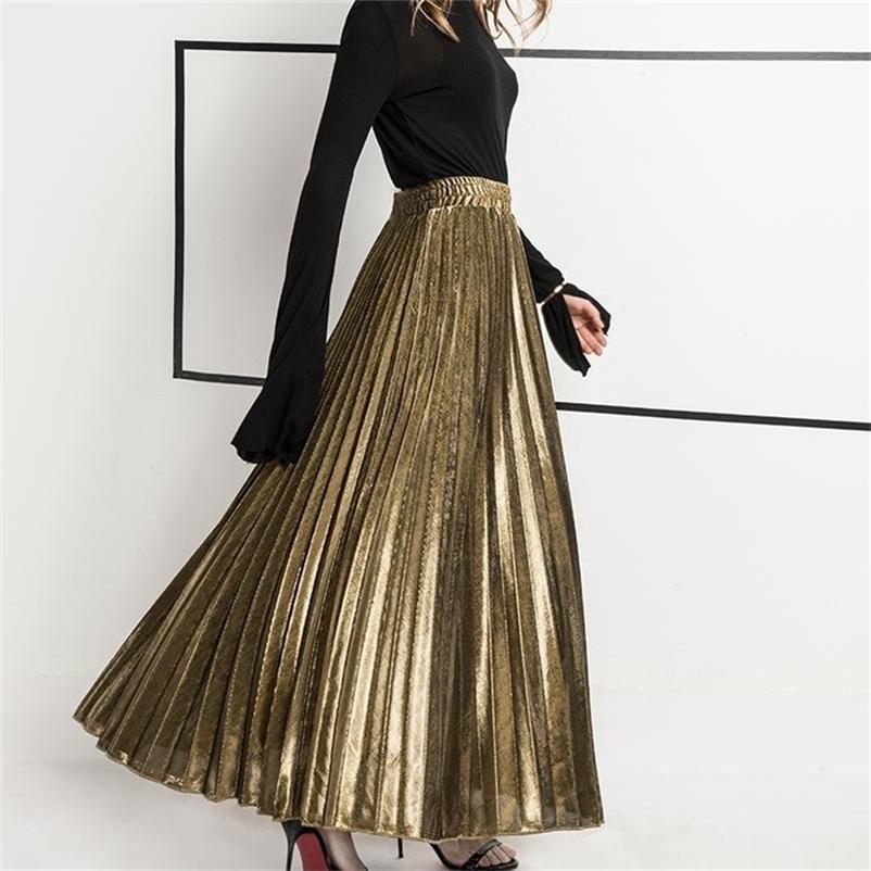 Printemps Nouvelle Arrivée Haute taille Accordéon Plissé Jupe Coréen Vintage Jupe Vintage Faldas Largas Elegantes Livraison Gratuite 210310