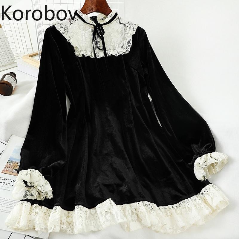 Korobov Dantel Patchwork O Boyun Kadın Elbise Kore Streetwear Yüksek Bel Kadın Elbise İlkbahar Yaz Yeni Vestidos 210303