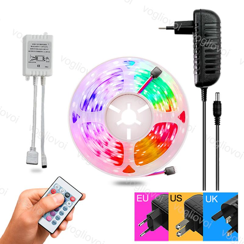 LED Şerit Işık 5 M / PCS MD2835 5050 300LED DC12V Su Geçirmez Çok Renkli 24Keys AC100-240 V Adaptörü HDTV TV Masaüstü Ekran Arka Plan Eub