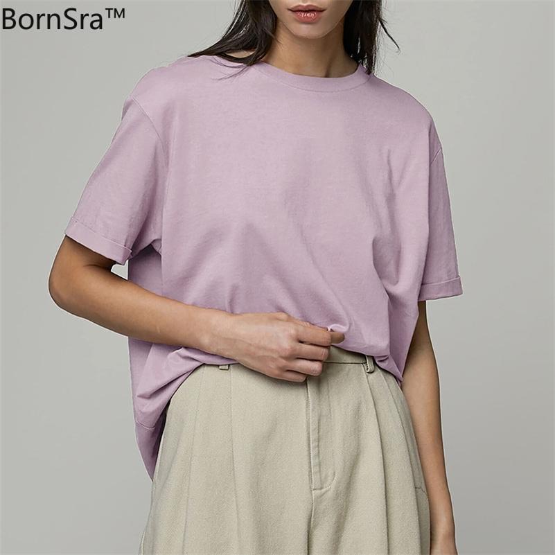 Bordsra рубашка женское лето новый свободный и универсальный базовый ватный хлопчатобумажные люди и женщины пару топы 210315