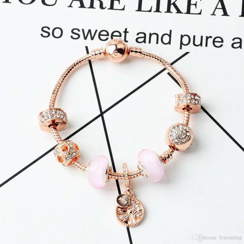 Nouveau bracelet lâche vie de bricolage femme perles pendentif style bijoux accessoires de charme bracelet charme cadeau fille fille rose or efakn