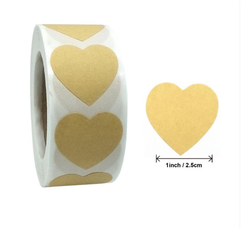 500pcs por rolo papel kraft vedação adesivo retro presente redondo presente em branco embalagem coração forma de festa de festa de festa jllwbm