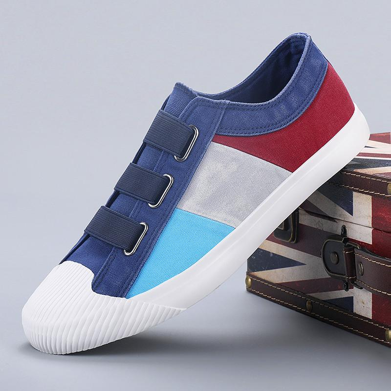Mens shoes Springe running casual shoes scale sports shoes Mens low-top canvas color matching one pedal mens tide