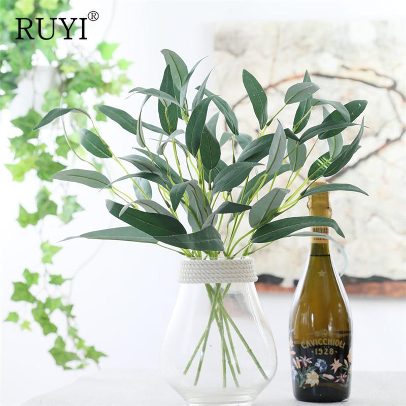 Flores decorativas grinaldas 47cm plantas artificiais Eucalipto deixa adereços de casamento DIY bouquet acessórios para decoração de casa decoração de mesa