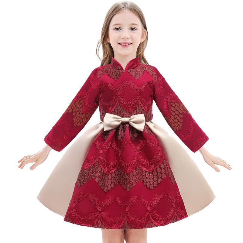 # 50 Baby Mädchen Kleid Kurzarm Kleinkind Kinder Mädchen Neue Jahre Cheongsam Prinzessin Party Full Kleid R Kalender Chinesisch
