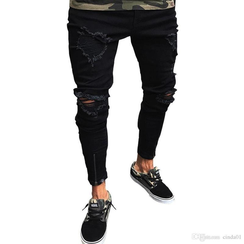 Вылейте Homme Casual Jeans сплошные большие отверстия High Street Eurestic New Fashio Slim Fit удобно носить карандашные штаны