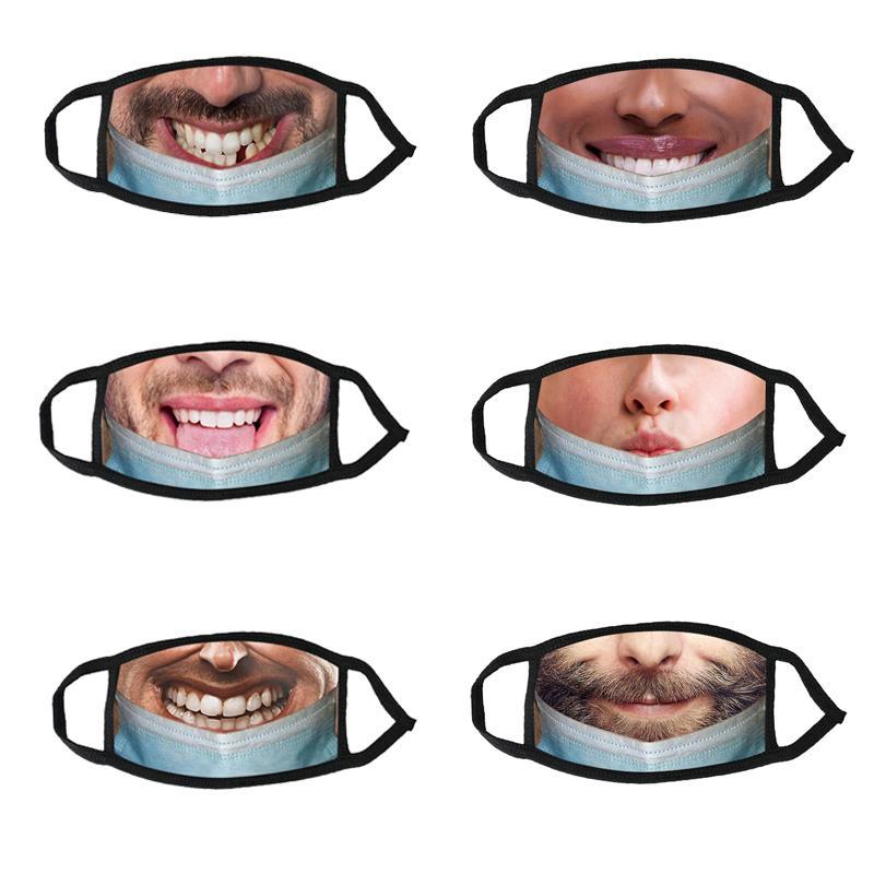 Designer Mode Gesichtsmaske Praktische Witz Gedruckt Lustige Ausdruck Maske Erwachsene kaltgeschützte atmungsaktive staubdichte Mund Facemask