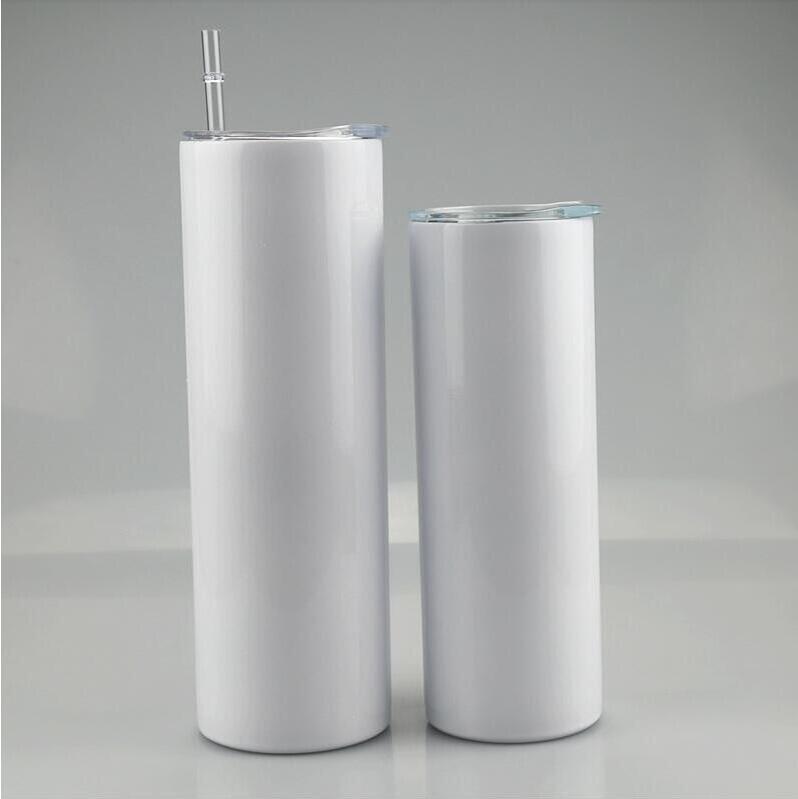 30oz dünne Tumbler leerer Sublimation Gerade Becher verjüngende Kaffeetassen mit Deckel und Kunststoff Strohbier Bier Tassen Meer Versand CCA12664