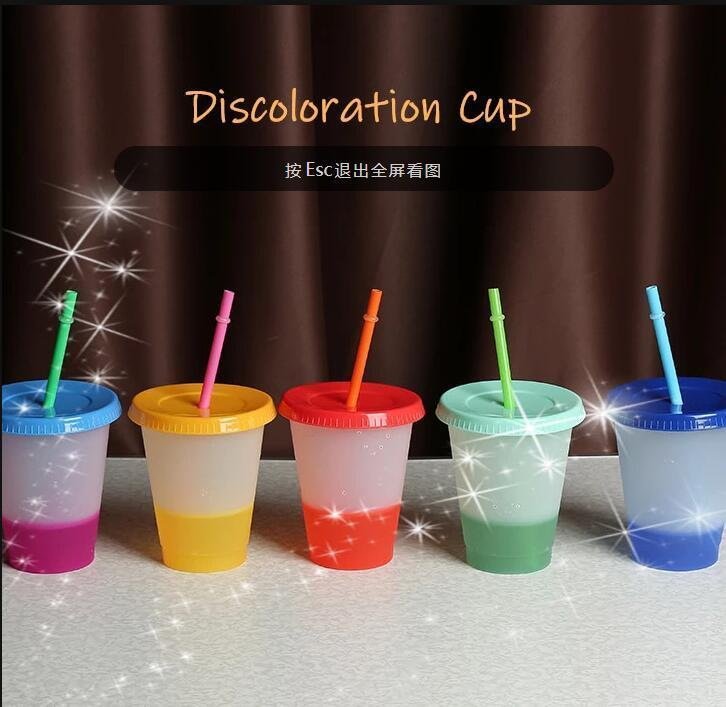16 أوقية مزيج اللون تغيير الكؤوس الباردة قابلة لإعادة الاستخدام بهلوان البلاستيك مع غطاء وسترو كوب الباردة كأس القش drinkware أدوات المطبخ FY4494