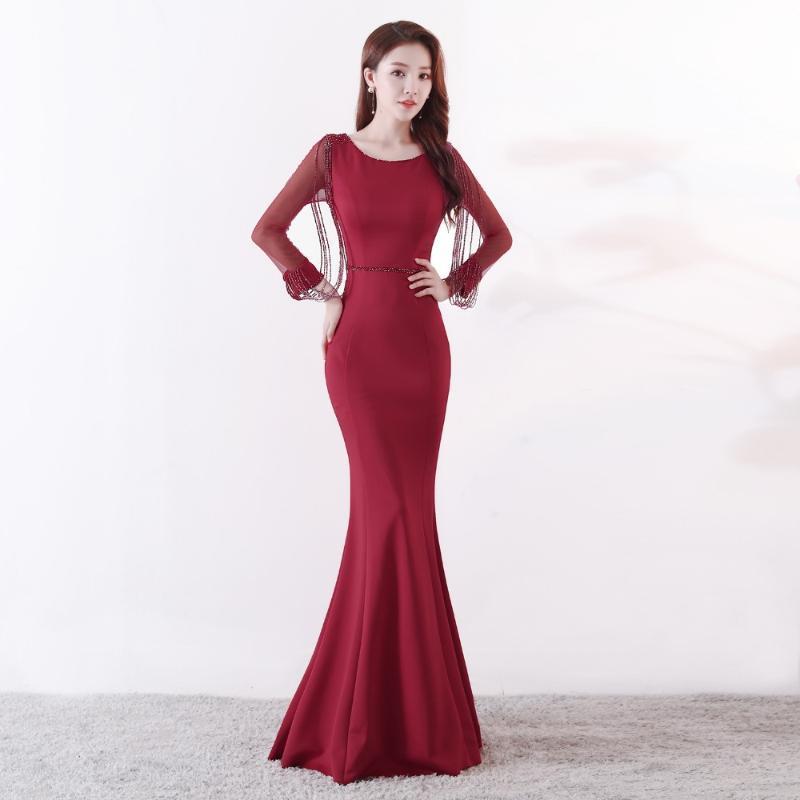 Вечеричные платья Vestidos Real POS Andotek Бургундия Crystal Long Rermaid Prom 2021 Формальное платье Вечерние платья Робин де Сорие