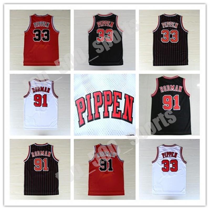 뜨거운 판매 남자 # 1 데릭 로즈 33 스코 티 Pippen 91 Dennis Rodman Jersey 화이트 레드 블랙 스트라이프 100 % 스티치 레트로 농구 유니폼
