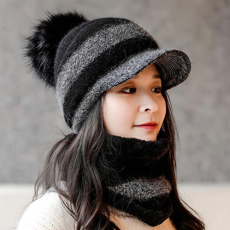 Hüte, Schalshandschuhe Sets Weibliche Winterpelz Wollhut Outdoor Riding Gestrickte große Haare Kugelkappe Warme Schal 2-teilig Set Hüte Für Frauen