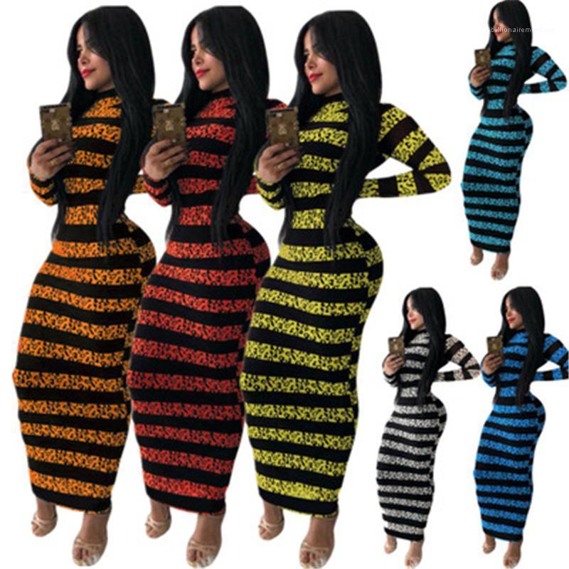 Шея тощий длинные юбки дизайнер женские осень тонкая повседневная пуловер карандаш платье женщин полоса печать платье моды тренд с длинным рукавом