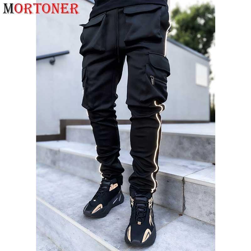 Black Cargo Stretch Sweatpants Men 2021 New Reflective Striped Night Sport Dance Trousers Mens Harajuku Hip Hop Streetwear Pants
