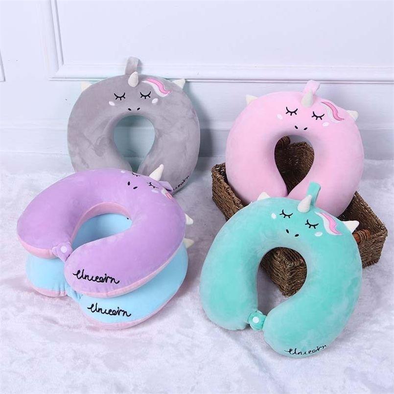 Cartoon Unicorn U Shaped Travel Pillow Car Air Flight Inflatable Pillows Neck Support Headrest Cushion Soft Memory Foam Pillow 210924