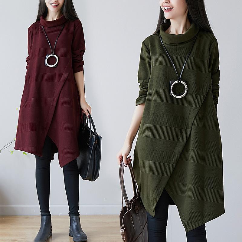 Sonbahar ve kış 2021 yeni büyük kadın kalınlaşmış orta uzunlukta düzensiz yüksek yaka elbise Korece düz