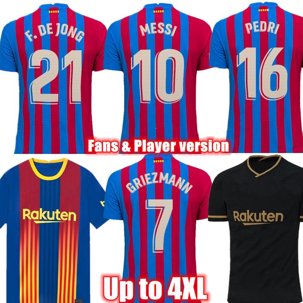 Pedri Memphis F. De Jong Player Version Soccer Jersey 2021-22 Griezmann Home و Away Kun Aguero Mailleots Football Shirts تصل إلى 4XL