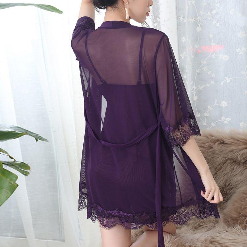 LCE крючком сексуальный TrnsPrent Womens Bthrebe Suit Sshes PTchwork Mini Night платье Женщины Летняя весна Nightdress 2 штуки