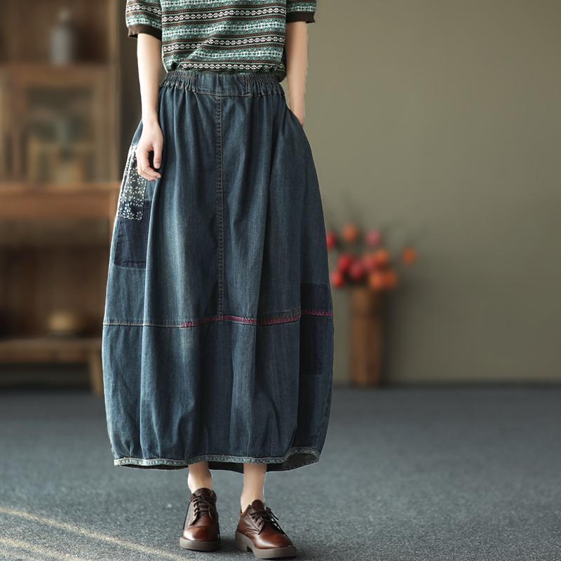 Юбки Joilature Женщины Джинсовая эластичная талия Лоскутные карманы 2021 Весенняя старинная одежда Бутон