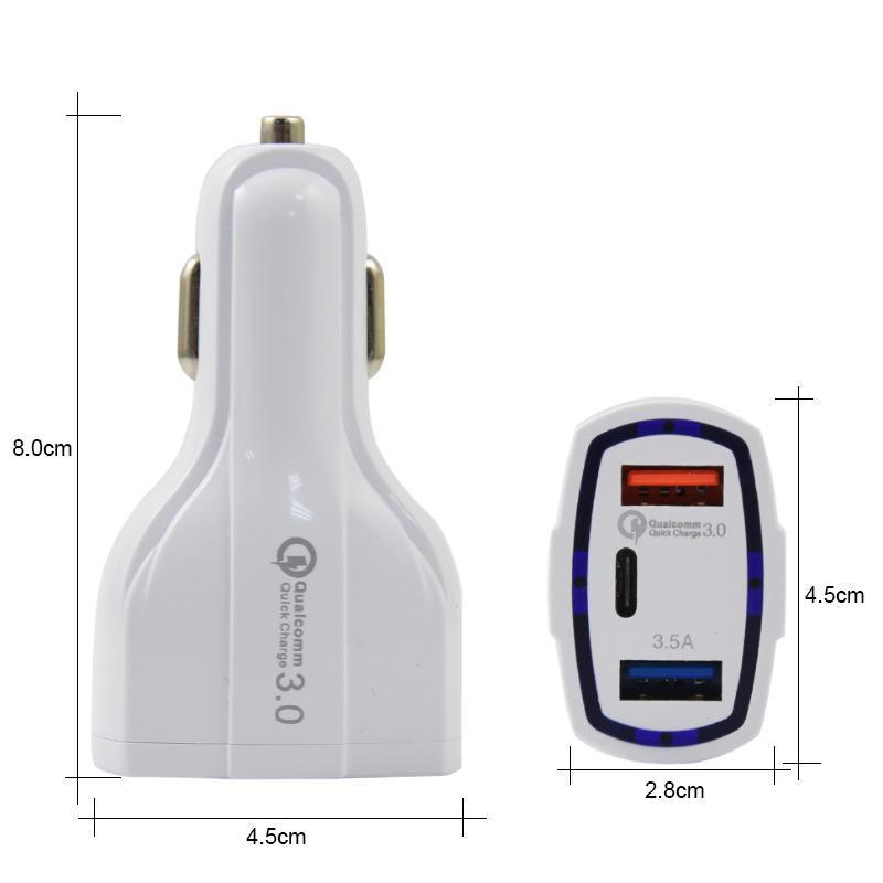 3 포트 자동차 충전기 18W Type-C USB 포트 빠른 빠른 충전 자동 전원 Aadapter 5V / 3.1A iPad iPhone XR 12 Pro Max Smart Phone