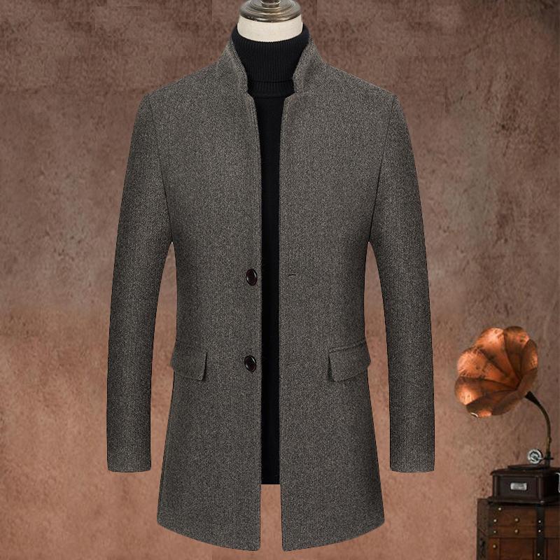 Мода мужская шерстяная смесь шерсть зимняя новая мужская повседневная дикая шерсть пальто на качественном бренд мужской сплошной цвет шерстяной шерстяной