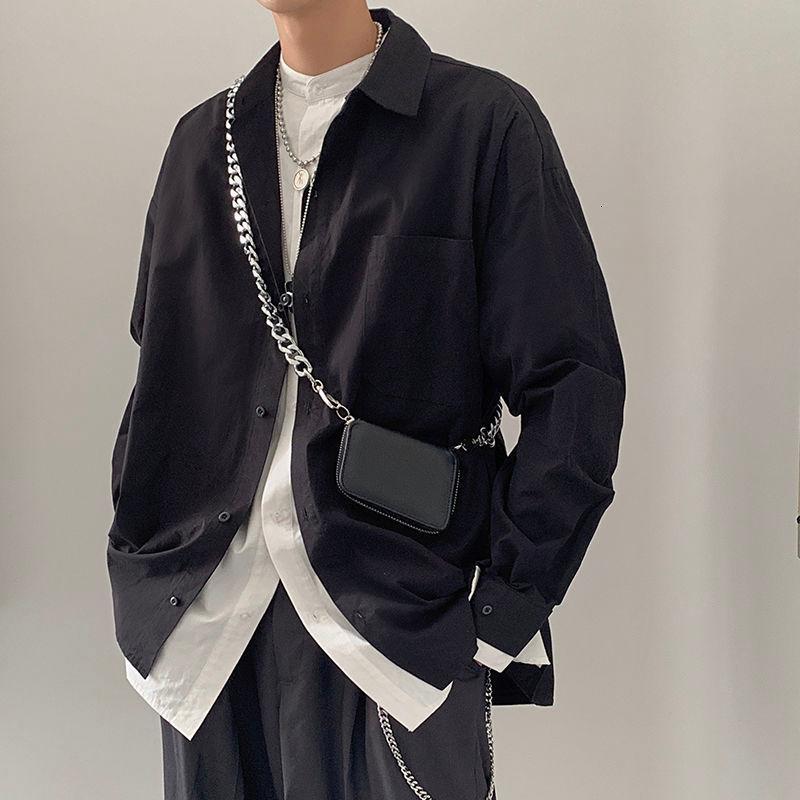 Camicie casual da uomo 2021 Primavera e autunno Gioventù Pure Color Semplice Falso a due pezzi Camicia a maniche lunghe Moda Single-Breasted Top