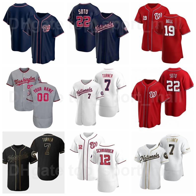 Baseball 19 Josh Bell Jersey 12 Kyle Schwarber 22 Juan Soto 7 Trea Turner 37 Stephen Strasburg FlexBase Cool Base Benutzerdefinierte Name Nummer