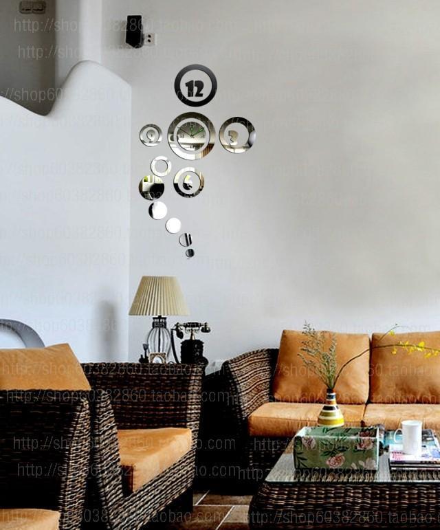 Attractive DIY Decorative Art Wall Clock Creative Home Wall Decor Living Room Wall Clock Acrylic Mirror Stickers