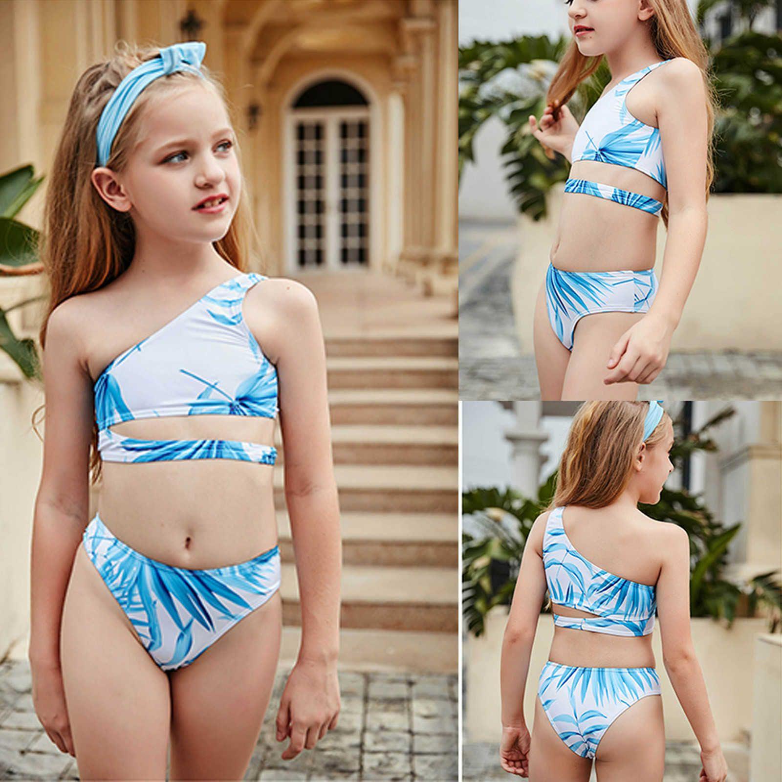 Crianças meninas de dois peças de maiô biquíni de folhas off-ombro impressão crianças swimwear beachwear roupa de banho de banho de banho conjunto 2021