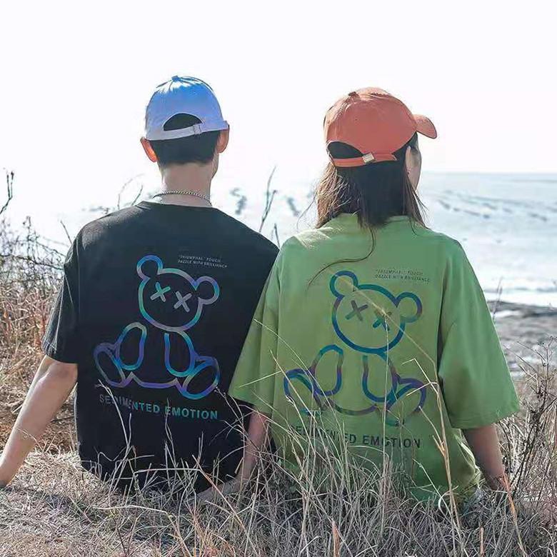 여름 가을 망 티셔츠 캐주얼 패션 여자 커플 티셔츠 럭셔리 남자 옷 빛나는 곰 반팔 짧은 소매