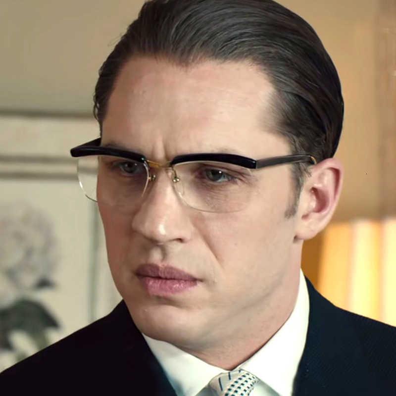 Designer Tom Hardy Film Classic The Legend Acetate avec lunettes métalliques Homme Half Cadre Optique Prescription Optique Lunettes POB8