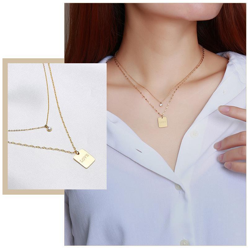 Chic Love Tag Ожерелья для женщин, Из нержавеющей стали Металлические Двойные Цепи Воротник, Элегантные подарки Для Его Ювелирные Изделия, Длина Регулируемый
